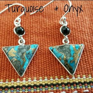 Turquoise & Onyx Earrings Sterling Silver